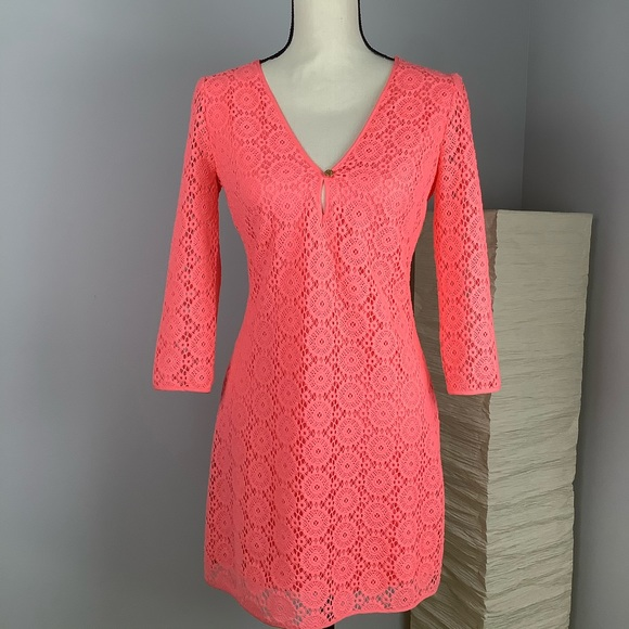 Lilly Pulitzer Dresses & Skirts - Lilly Pulitzer Breakers Lace Dress in Pucker Pink